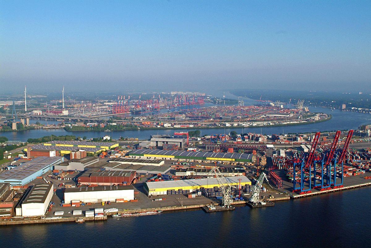 Luftbild des Hamburger Hafens